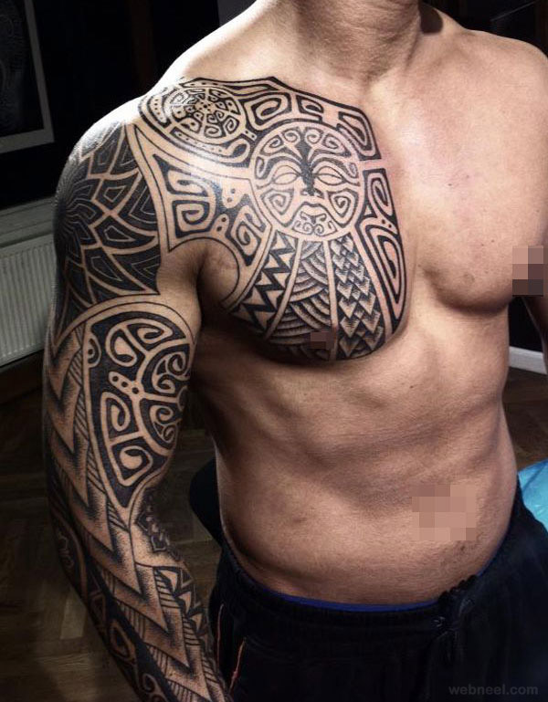 Tribal Tattoo Maori Full Sleeve and Chest 2