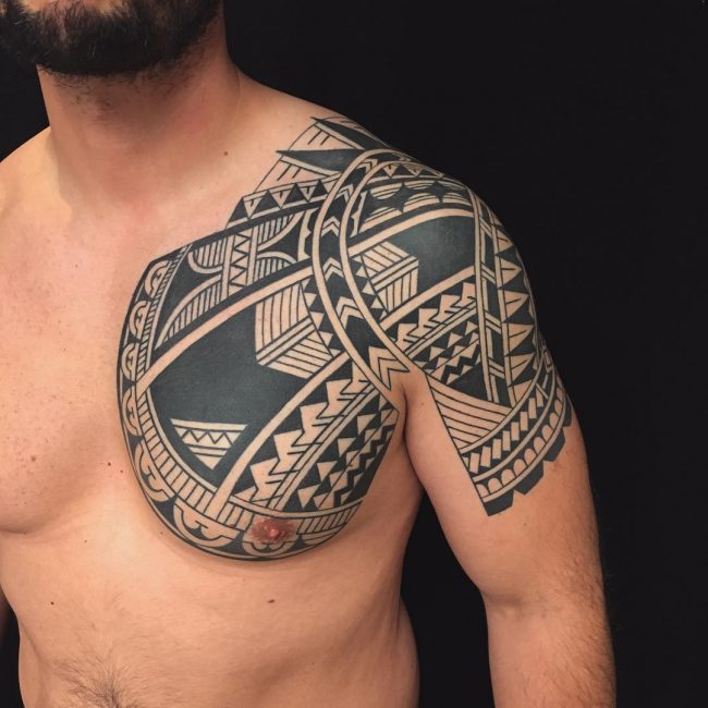 Tribal Tattoo Samoan Chest