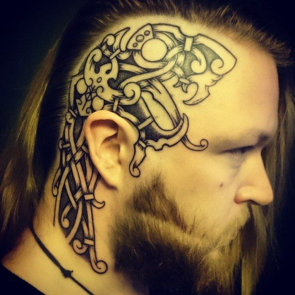 Viking head tattoo