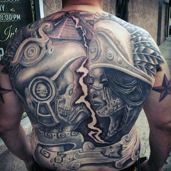 Aztec Warrior Full Back Tattoo