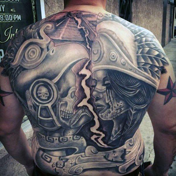 Aztec Warrior Full Back Tattoo
