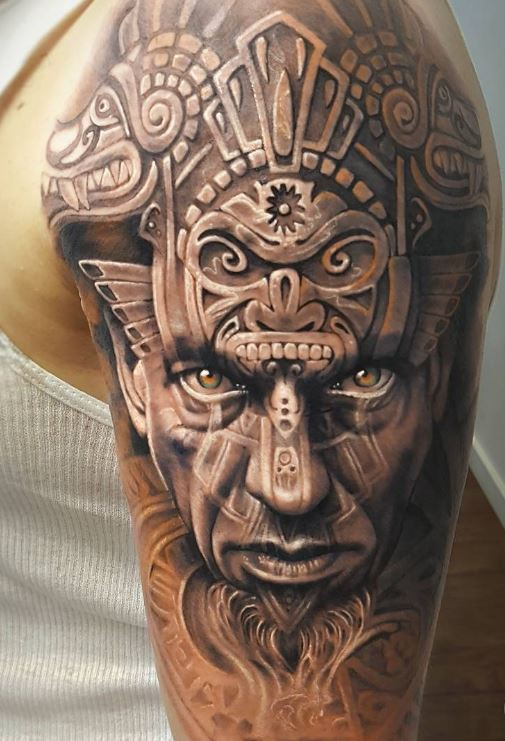 Aztec Warrior Sleeve Tattoo