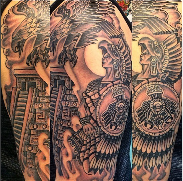 Aztec Warrior Sleeve Tattoo