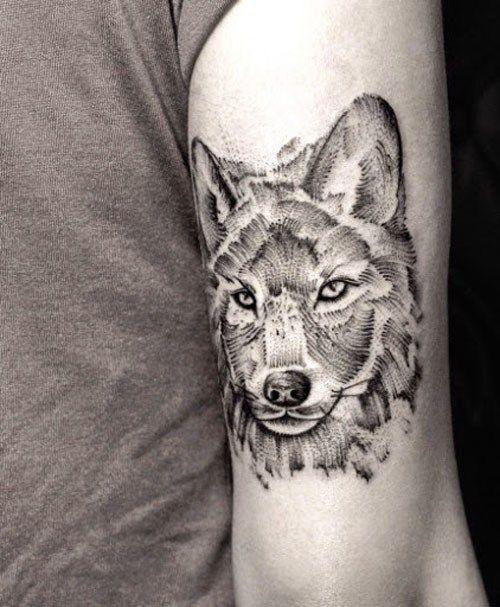 Women Wolf Tattoo Arm