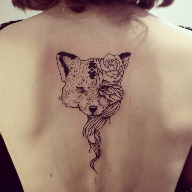 Women Wolf Tattoo Back