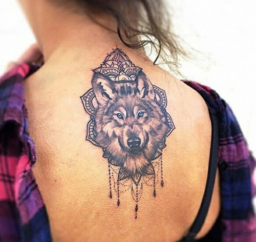 Women Wolf Tattoo Boho