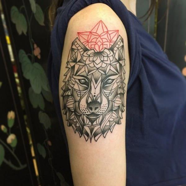Women Wolf Tattoo Intricate