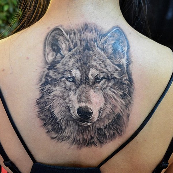 Women Wolf Tattoo Large Back
