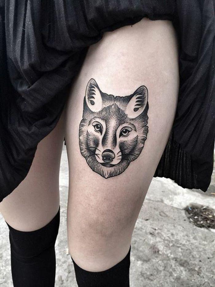 Women Wolf Tattoo Thigh