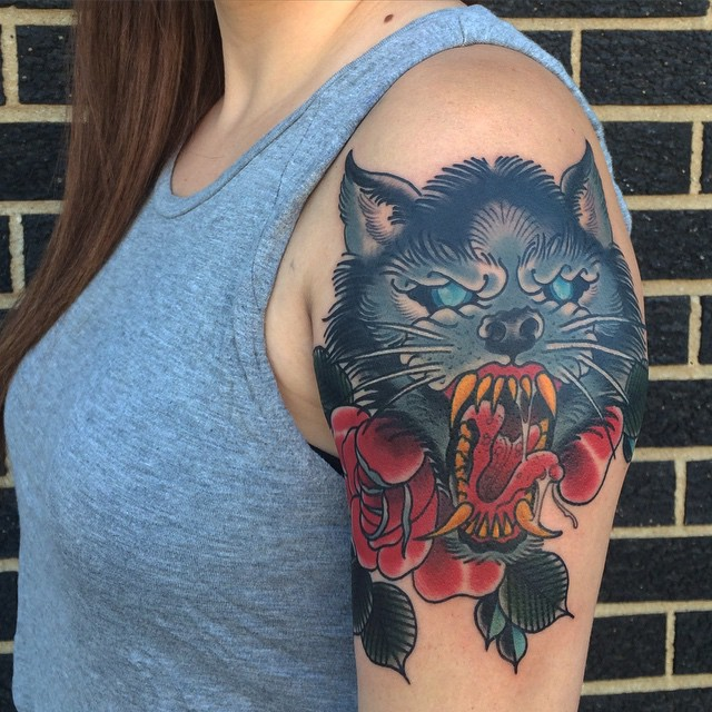 Women Wolf Tattoo Watercolor Sleeve