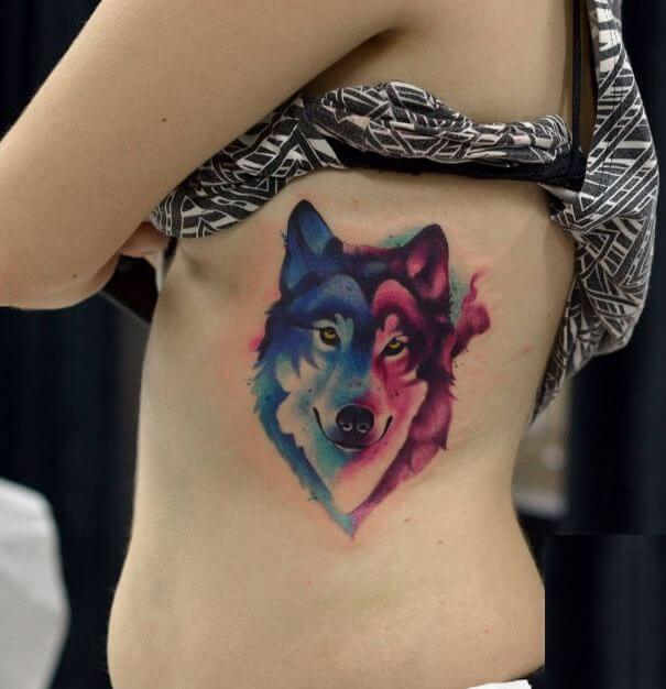 Women Wolf Tattoo Watercolor