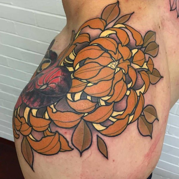 chrysanthemum autumn tattoo