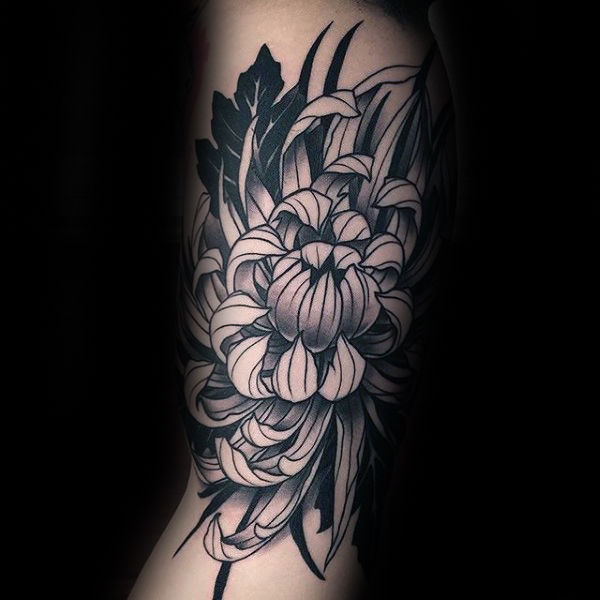 chrysanthemum pink side tattoo