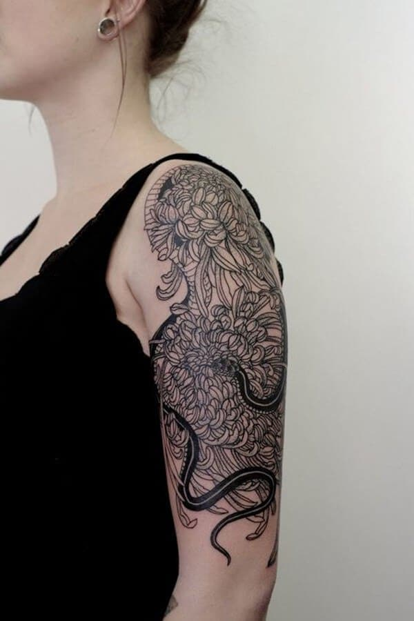 chrysathemum sleeve tattoo 2