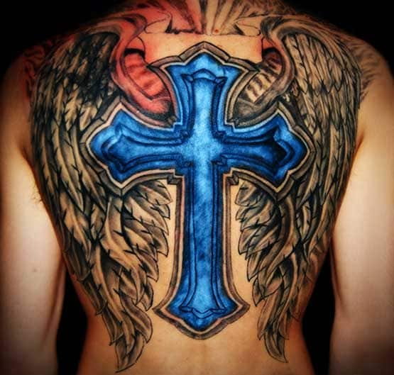 cross tattoo men back 4