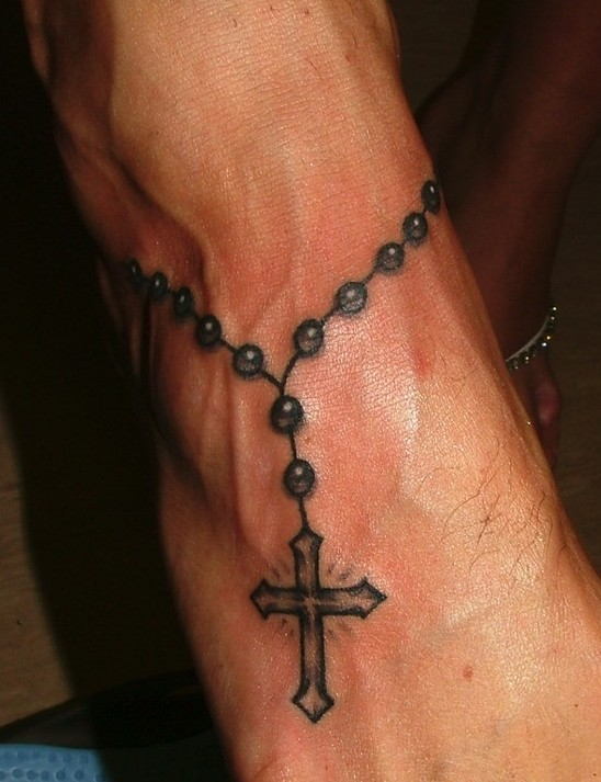 cross tattoo men feet 1