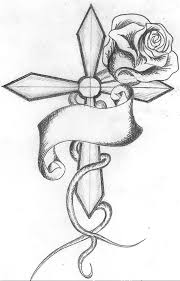 cross tattoo women sketch 2