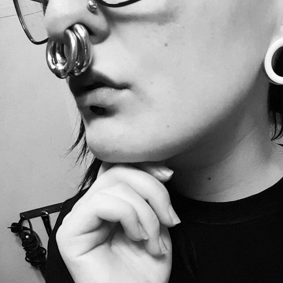 extremely stretched septum piercing