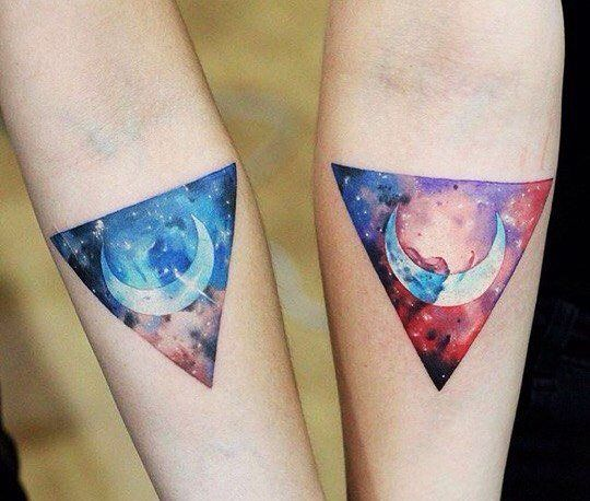 galaxy moon couple arm tattoo