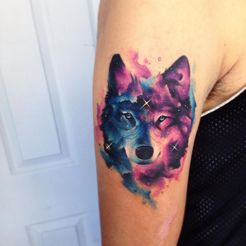 galaxy wolf shoulder tattoo