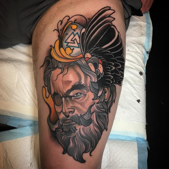 neo bearded man leg tattoo