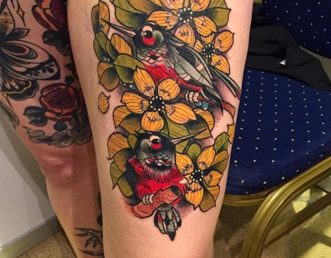 neo flowers and birds leg tattoo