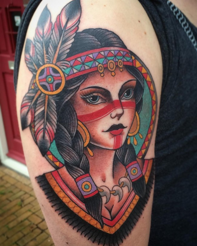 neo indian girl sleeve tattoo