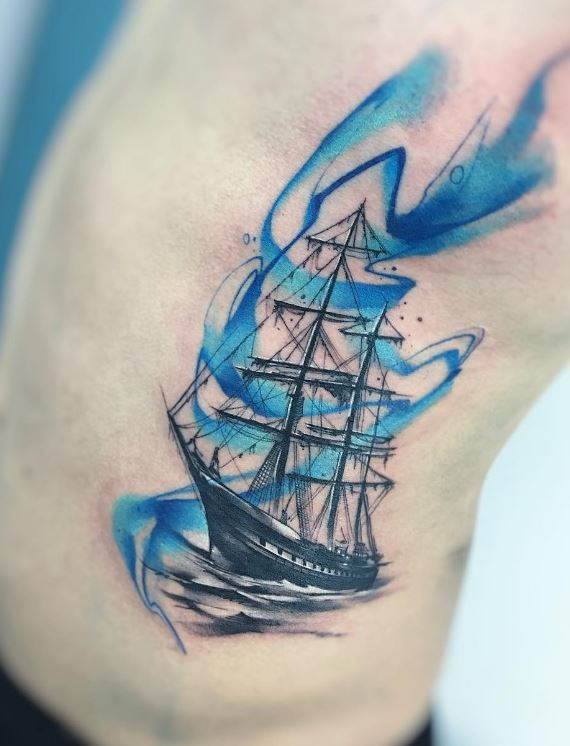 pirate ship blue tattoo