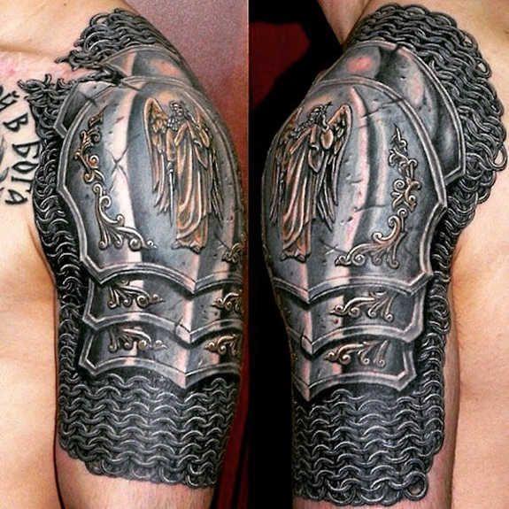 shoulderplate angel tattoo