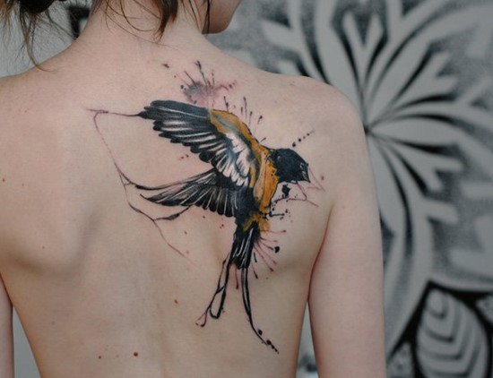 sparrow intricate back tattoo