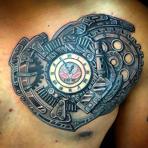 steampunk chest clock tattoo