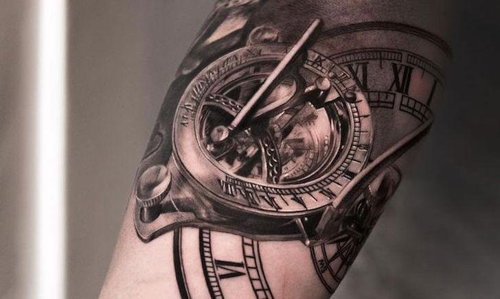 steampunk clock arm tattoo