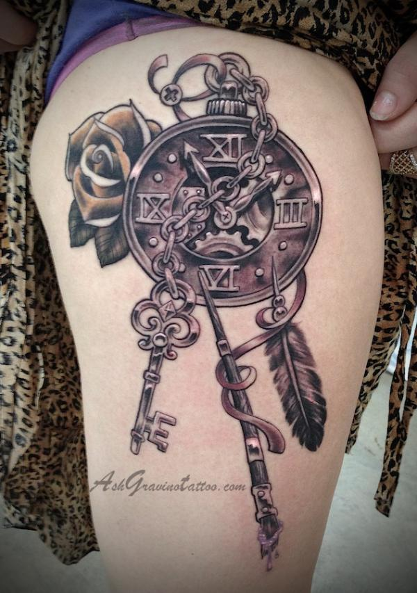 steampunk clock thigh tattoo