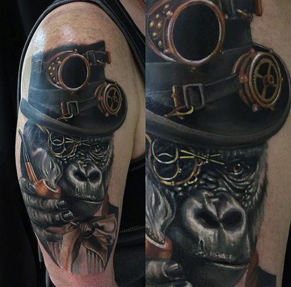 steampunk gorilla tattoo
