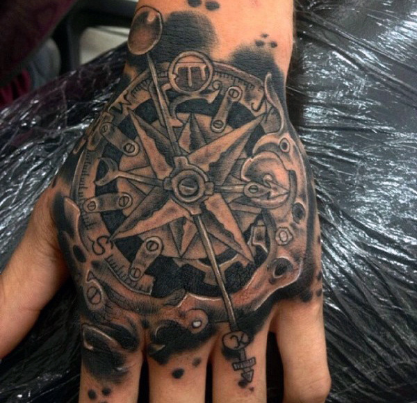 steampunk hand tattoo