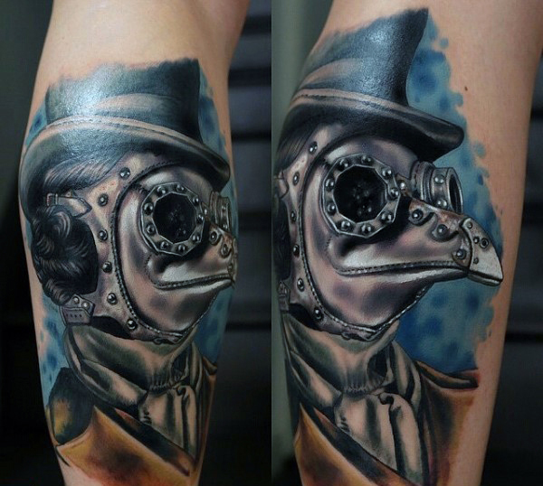 steampunk plague doctor arm tattoo