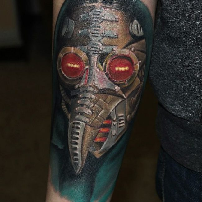 steampunk plague mask arm tattoo