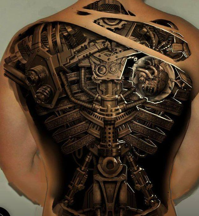 steampunk robotic ribs back tattoo