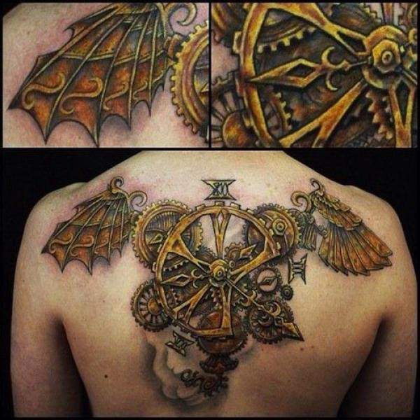 steampunk winged machine back tattoo