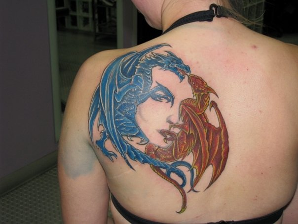 European dragon tattoo back 1