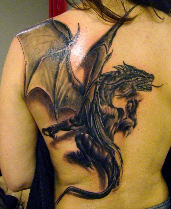 European dragon tattoo back 2