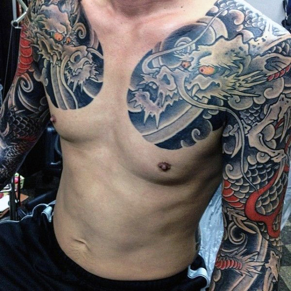 Men Dragon Tattoo Full Sleeve 1