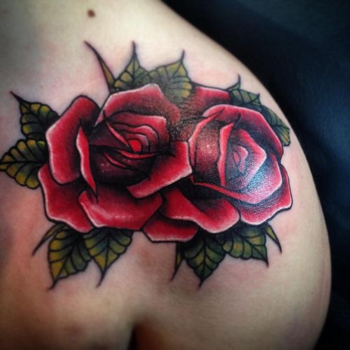 Red rose tattoo shoulder 1
