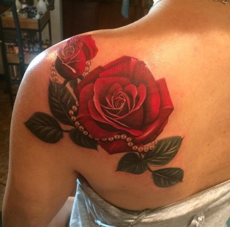 Red rose tattoo shoulder 2