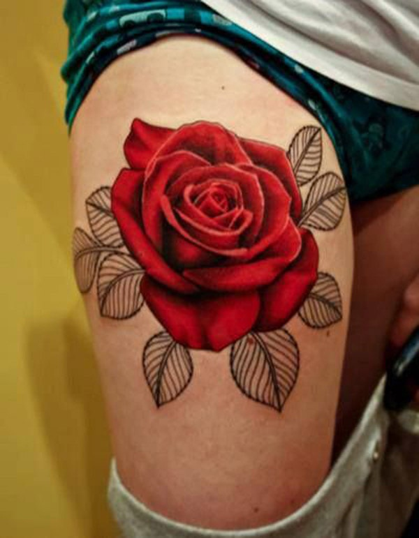 Red rose tattoo thigh 1