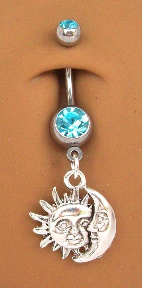 beautiful sun and moon ring for belly button piercing