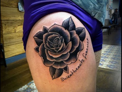 black rose tattoo thigh 2