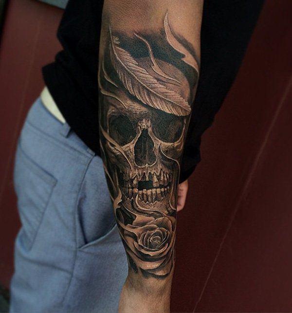 men skull tattoo arm 3