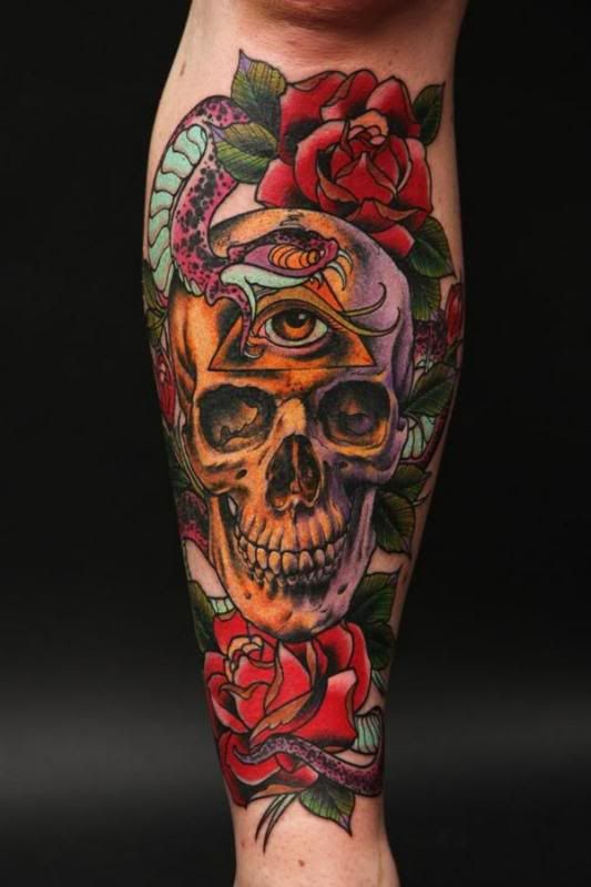 neotraditional skull tattoo arm 3