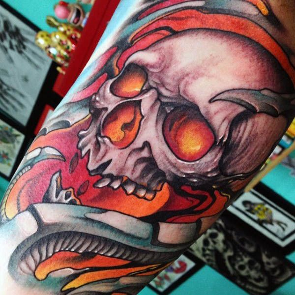 neotraditional skull tattoo sleeve 1